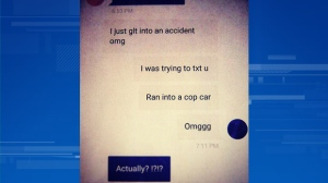 A screenshot of a text message shows the confession of a driver who rear ended a police car in Victoria. (Victoria Police)