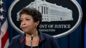Attorney General Loretta Lynch pauses as she speaks during a news conference at the Justice Department in Washington about Ferguson, Missouri on Wednesday, Feb. 10, 2016. (AP / Carolyn Kaster)
