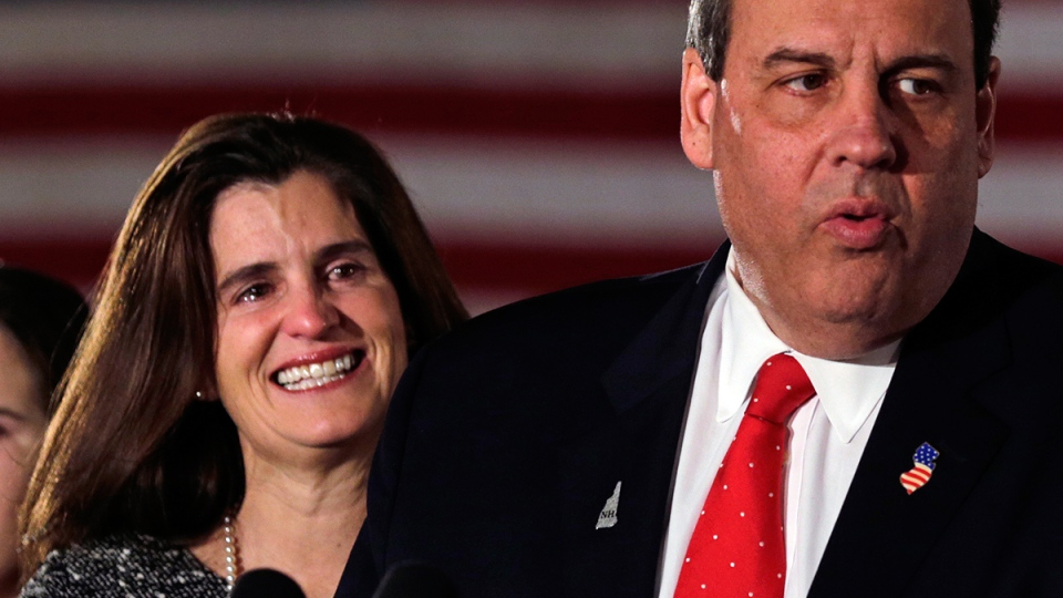 Tears well up in Mary Pat Christie's eyes as her husband Republican presidential candidate, New Jersey Gov. Chris Christie addresses supporters during a primary night rally in Nashua, N.H., Tuesday, Feb. 9, 2016. (AP / Charles Krupa)
