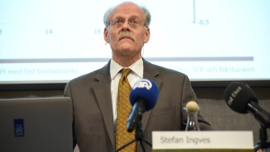 Governor of the Central Bank of Sweden, Stefan Ingves talks during a media presentation at the bank headquarters in Stockholm, Sweden, Thursday Feb. 11, 2016. (Thommy Tengborg / TT via AP)