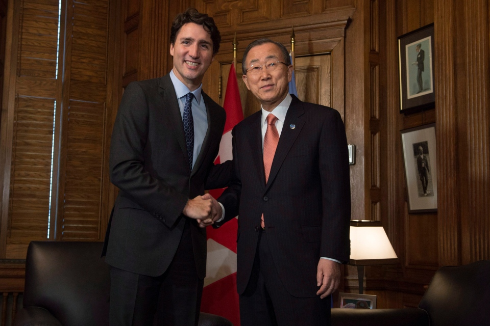 Prime Minister Justin Trudeau meets with United Nations Secretary General Ban Ki-moon on Parliament Hill in Ottawa, Thursday, Feb. 11, 2016. (Adrian Wyld / THE CANADIAN PRESS)