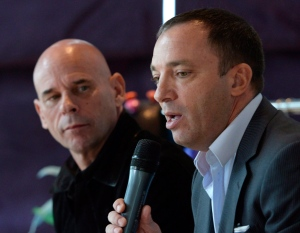 Quebec businessman Mitch Garber, right, speaks at a news conference on April 20, 2015 while Cirque du Soleil founder Guy Laliberte listens. (THE CANADIAN PRESS/Ryan Remiorz)