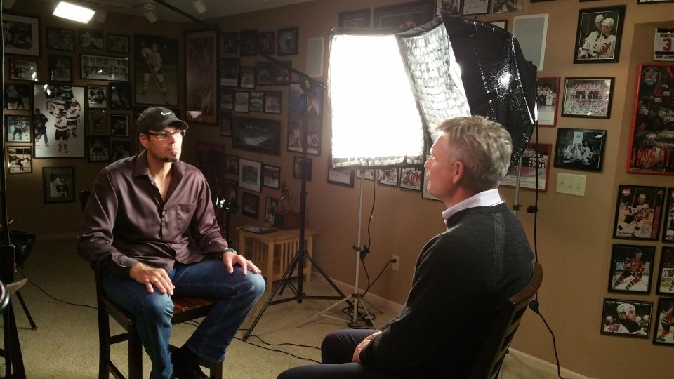 Former NHL enforcer Mike Peluso (left) speaks with TSN's Rick Westhead (W5)