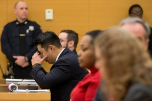 Police officer Peter Liang reacts as the verdict is read during his trial on charges in the shooting death of Akai Gurley, Thursday, Feb. 11, 2016 at Brooklyn Supreme court in New York in New York. (AP / Mary Altaffer)
