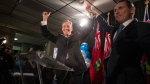 Progressive Conservative candidate Lorne Coe, left, celebrates with Ontario PC Leader Patrick Brown after winning the provincial byelection in the Whitby-Oshawa riding, in Whitby, Ont., on Thursday, Feb. 11, 2016. (Chris Young / THE CANADIAN PRESS)