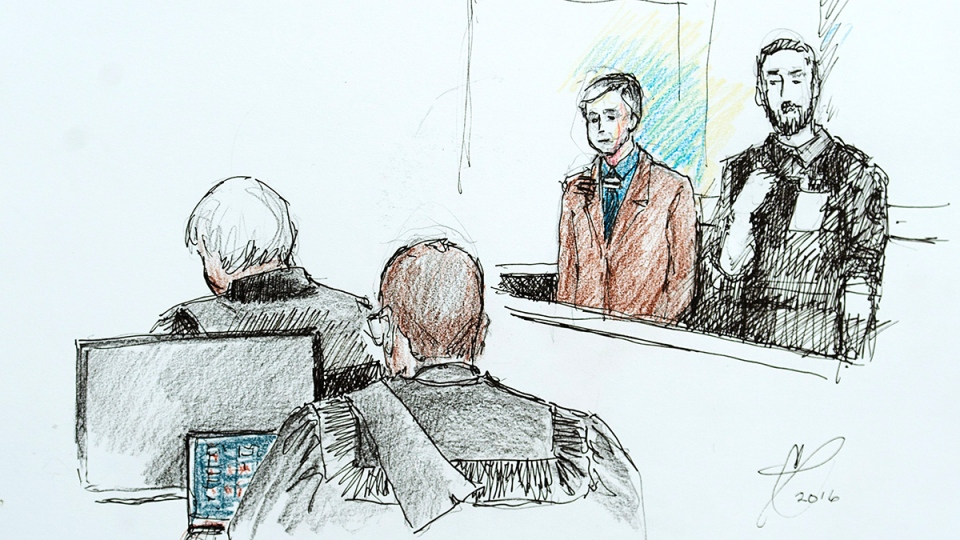 Dennis Oland is depicted in an artist's sketch at the Law Courts during his sentencing in Saint John, N.B. on Thursday, Feb. 11, 2016. (Carol Taylor / THE CANADIAN PRESS)
