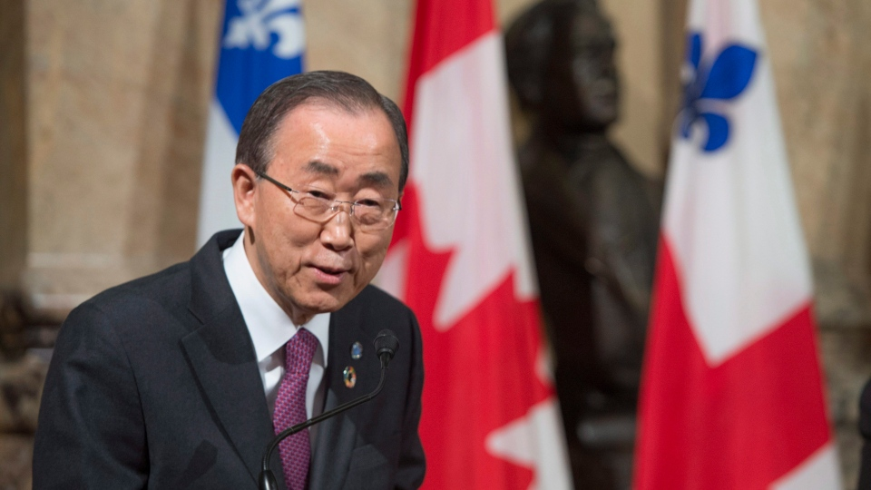 United Nations Secretary General Ban Ki-moon responds to a question during a news conference while visiting city hall Friday, February 12, 2016 in Montreal. (THE CANADIAN PRESS / Paul Chiasson)