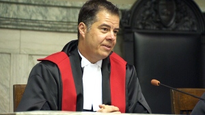 Judge Kael McKenzie speaks after being officially sworn in at Manitoba's provincial court in Winnipeg, Friday, Feb. 12, 2016.
