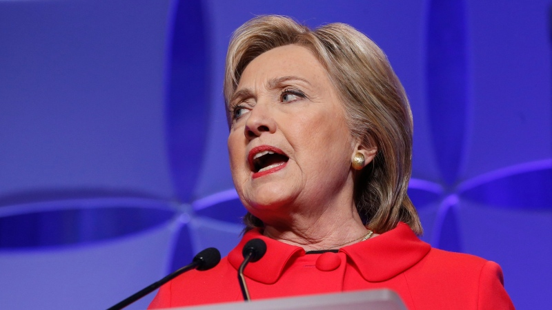 Then-Democratic presidential candidate, Hillary Clinton speaks at the state's Democratic-Farmer-Labor (DFL) Humphrey-Mondale dinner in St. Paul, Minn. on Feb. 12, 2016. (Jim Mone / AP Photo)