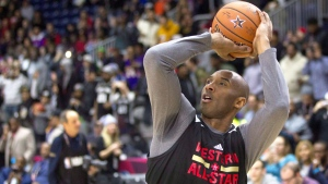 Western Conference's Kobe Bryant, of the Los Angeles Lakers, lines up a shot during a practice session ahead of the NBA All-Star Game in Toronto, Saturday, February 13, 2016. (Chris Young / THE CANADIAN PRESS)