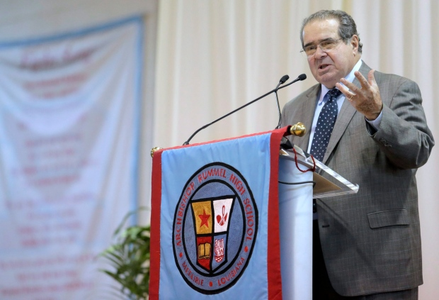 In this file photo, U.S. Supreme Court Justice Antonin Scalia speaks at Archbishop Rummel High School, Saturday, Jan. 2, 2016, in Metairie, La. (Brett Duke / NOLA.com The Times-Picayune via AP