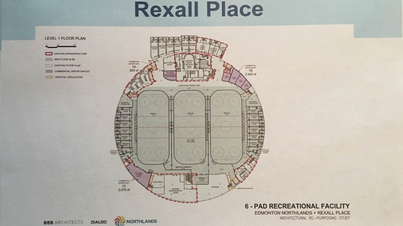 Proposed floor plan for Rexall Place. Supplied.