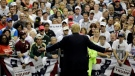 Republican presidential candidate Donald Trump gestures as he speaks to supporters during a rally Friday, Feb. 12, 2016, in Tampa, Fla. (AP Photo / Chris O'Meara)