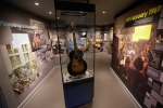 U.S. musician Jimi Hendrix's Epiphone acoustic guitar is displayed in an exhibition space at the central London flat he used to live in at 23 Brook Street, London on Feb. 8, 2016. (Matt Dunham / AP Photo)