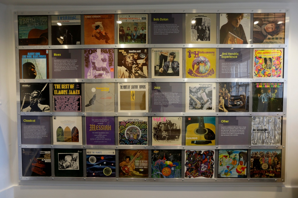 Record covers of albums U.S. musician Jimi Hendrix owned or made are displayed in exhibition space at his former central London flat, at 23 Brook Street on Feb. 8, 2016. (Matt Dunham / AP Photo)