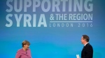 In this file photo dated Thursday, Feb. 4, 2016, British Prime Minister David Cameron, right, walks back to his seat on the stage after speaking, as German Chancellor Angela Merkel gets up for her turn to speak during a press conference near the end of the 'Supporting Syria and the Region' conference at the Queen Elizabeth II Conference Centre in London. (AP Photo/Matt Dunham, File)