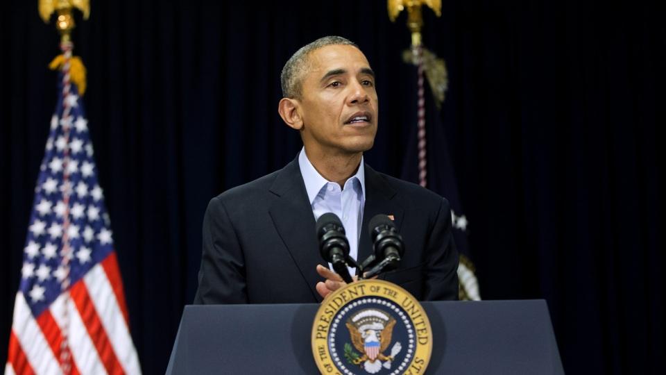 U.S. President Barack Obama speaks to at Omni Rancho Las Palmas in Rancho Mirage, CA. Saturday, Feb. 13, 2016. (AP / Pablo Martinez Monsivais)