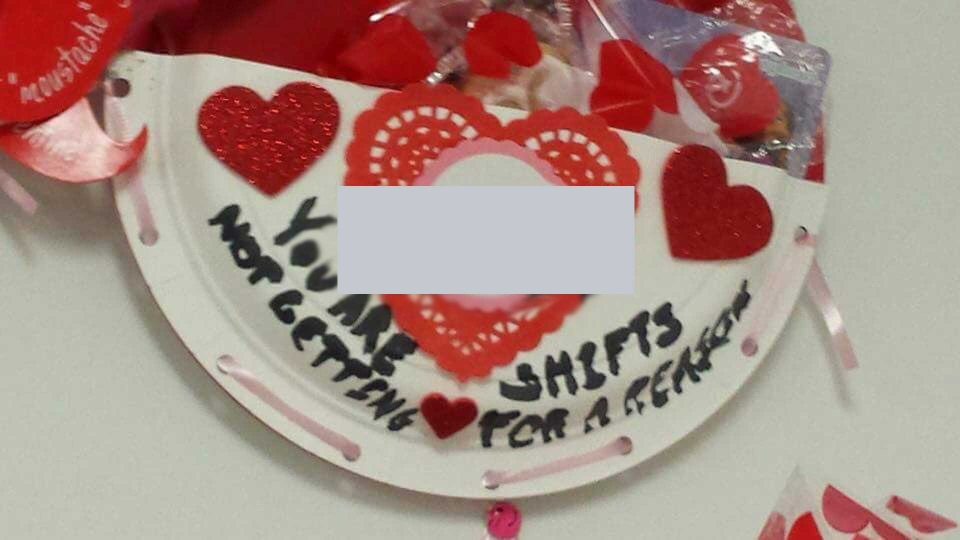 A Valentine given to Degas Sikorski is shown in a Facebook post by his mother, Shelley Bramhoff Sikorski, with a homophobic slur digitally blocked out. (THE CANADIAN PRESS/HO)