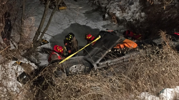 Truck in Scarborough ravine