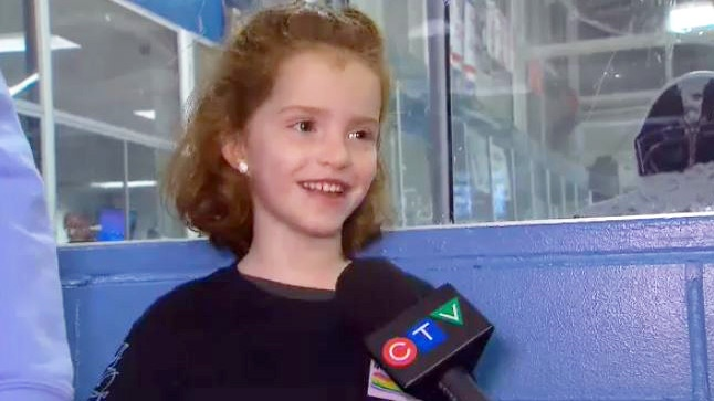 Na'ama Uzan, 6, discusses an Angelman Syndrome fundraiser, in Toronto, Ont., on Monday, Feb. 15, 2015.