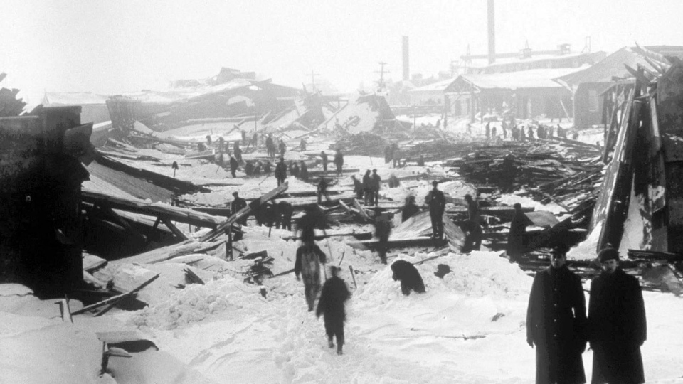 The aftermath of the Halifax Explosion is shown in this 1917 file photo. (The Canadian Press)