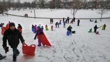 Refugees go sledding 1