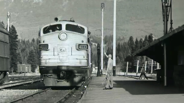 Undated photo of a passenger train at the station in Banff, Alberta