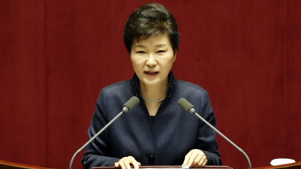 South Korea's president gives a speech