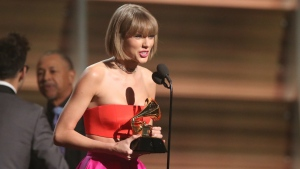 Taylor Swift accepts the award for album of the year for '1989' at the 58th annual Grammy Awards in Los Angeles on Monday, Feb. 15, 2016. (Matt Sayles / Invision)