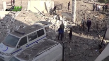 Destroyed vehicles in Azaz, Syria