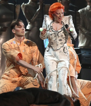 Lady Gaga performs a tribute to David Bowie at the 58th annual Grammy Awards on Monday, Feb. 15, 2016, in Los Angeles. (Matt Sayles/Invision/AP)