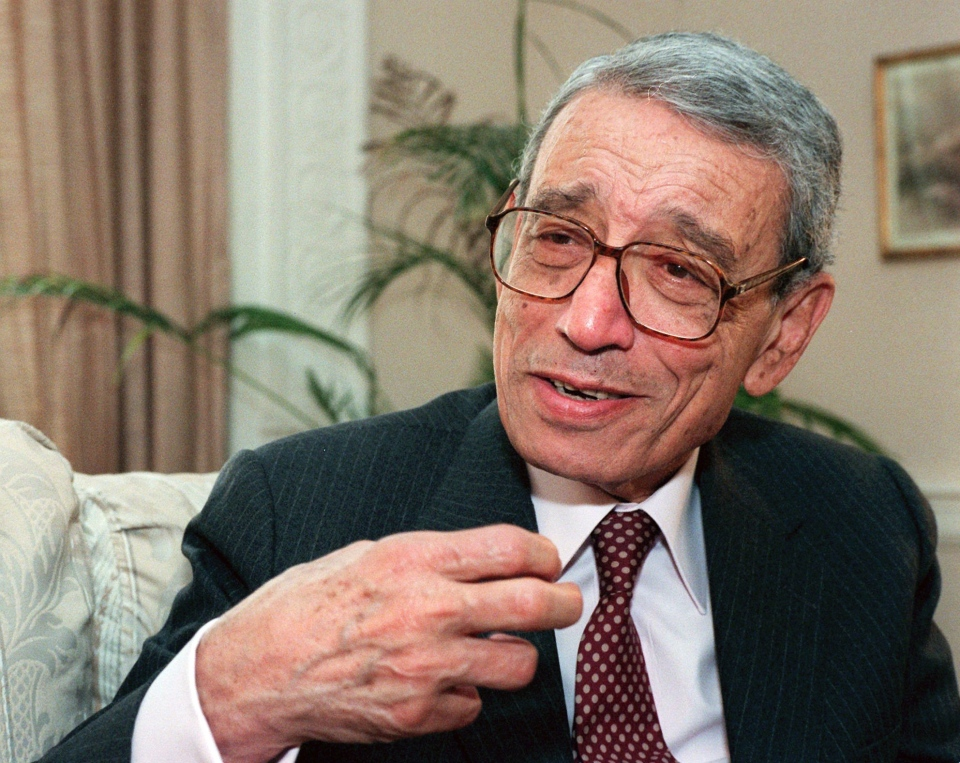 In this May 27, 1997 file photo, former United Nations Secretary-General Boutros Boutros-Ghali gestures during an interview with the Associated Press on Wednesday, May 21, 1997 in New York. (AP Photo/Michael Schmelling, File)