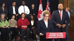 Ontario Premier Kathleen Wynne speaks in Toronto on Tuesday, Feb. 16, 2016. (Paul Bliss / CTV Toronto)