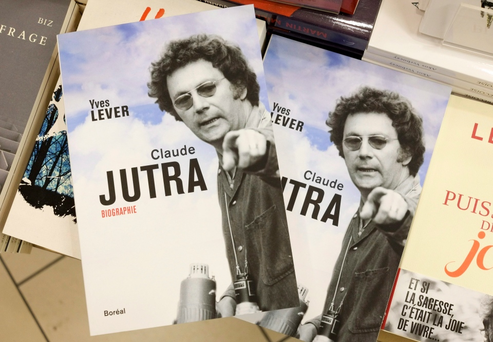 The biography of Quebec filmmaker Claude Jutra by author Yves Lever is seen in a bookstore, Tuesday, Feb.16, 2016 in Montreal. Telefilm Canada says it will allow Quebec's film industry to take the lead on what to do about awards bearing the name of a famous director accused of sleeping with young boys. (THE CANADIAN PRESS / Paul Chiasson)