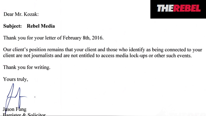 A screen capture shows a letter sent to lawyers representing The Rebel Media, from lawyer Jason Fung. Supplied.