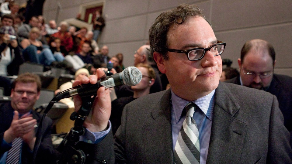 FILE - Ezra Levant turns after addressing a partially filled auditorium at a canceled event at the University of Ottawa, on March 23, 2010. (Pawel Dwulit / THE CANADIAN PRESS)