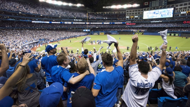 Blue Jays fans celebrate in Toronto