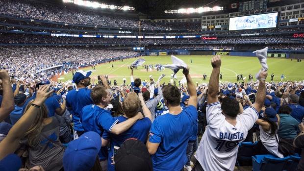 Blue Jays fans celebrate in Toronto
