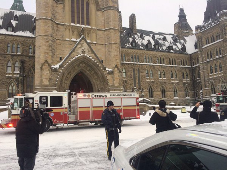A firetruck arrives on Parliament Hill as buildings are evacuated on Wednesday, Feb. 17, 2016. (Katie Simpson / CTV NEWS)