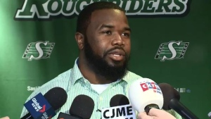 Defensive lineman Shawn Lemon answers questions in this undated file photo.