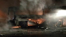 Burning vehicle seen after an explosion in Ankara