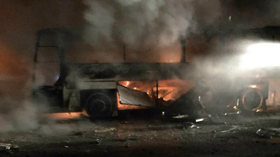 A burning vehicle seen after an explosion in Ankara, Turkey, Wednesday, Feb. 17, 2016. (AP Photo)