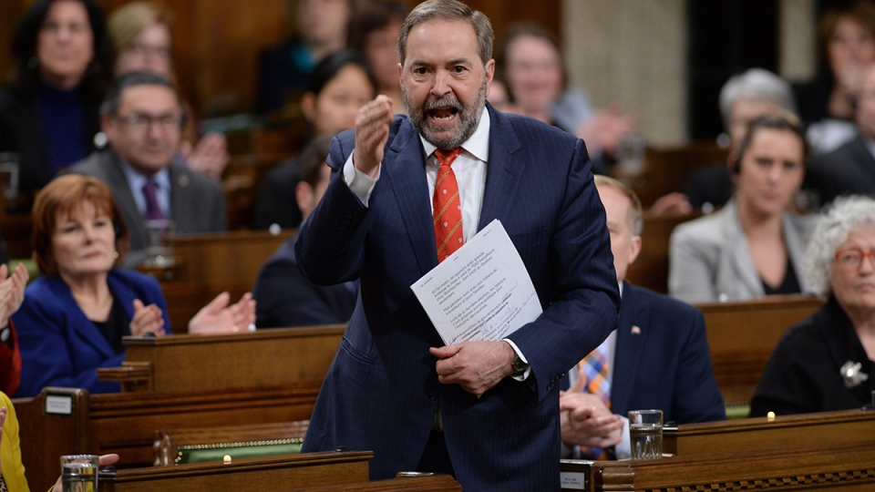 NDP Leader Tom Mulcair asks a question during question period in the House of Commons on Parliament Hill in Ottawa on Wednesday, Feb. 17, 2016. (Sean Kilpatrick / THE CANADIAN PRESS)