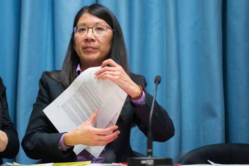 Joanne Liu, former president of Medecins Sans Frontieres International (Doctors Without Borders), speaks during a press conference in Geneva, Switzerland, Thursday, Feb. 18, 2016.  (Martial Trezzini/Keystone via AP)