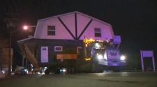 balzac house, house movers, truck, Highway 566, Cr