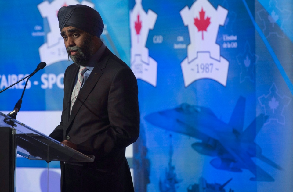 Minister of National Defence Minister Harjit Sajjan delivers a keynote speech to members of the Conference of Defence Associations in Ottawa, Thursday, Feb. 18, 2016. (Adrian Wyld / THE CANADIAN PRESS)