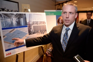 John Soini, president, Energy East pipeline project, is seen at a news conference in Montreal on Wednesday, Feb. 3, 2016 following the signing of a major supply agreement. (Ryan Remiorz/THE CANADIAN PRESS)
