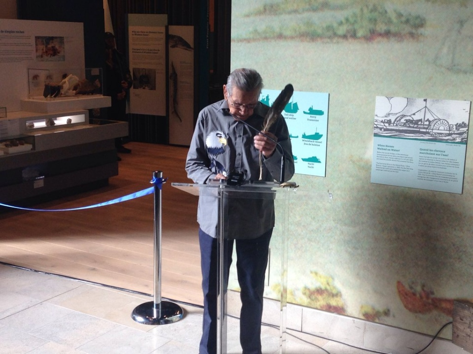 A prayer from a Walpole Island elder over the Chimczuk Museum during its opening on Thursday, Feb. 18, 2016. (Chris Campbell / CTV Windsor)