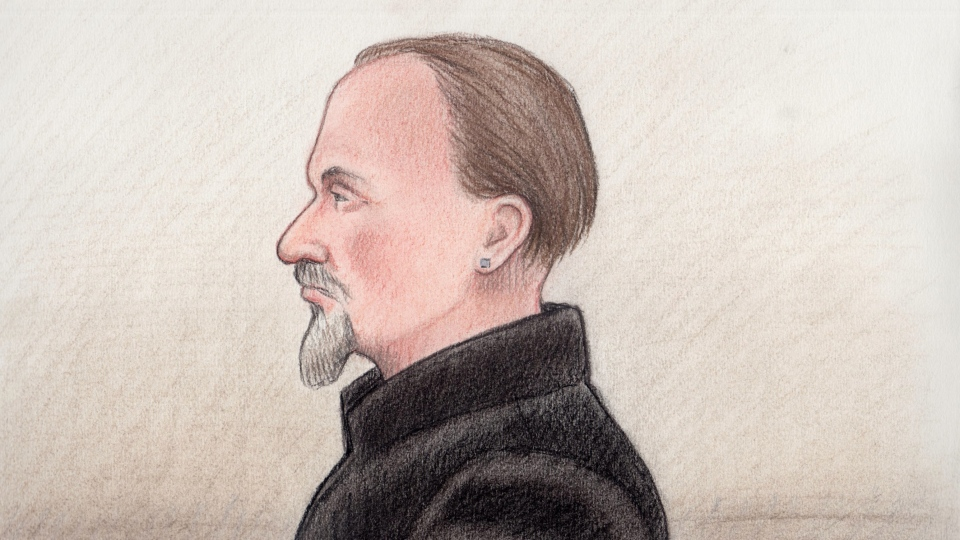 Artist sketch of 53-year-old Blake Dooley as he appeared in court in Gatineau.