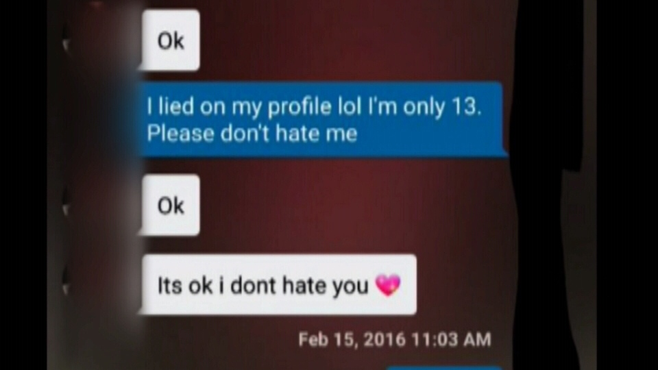 A screenshot of an apparent text conversation between a Nanaimo vigilante and the man he accuses of trying to lure an underage girl into sex. Feb. 18, 2016. (Facebook)